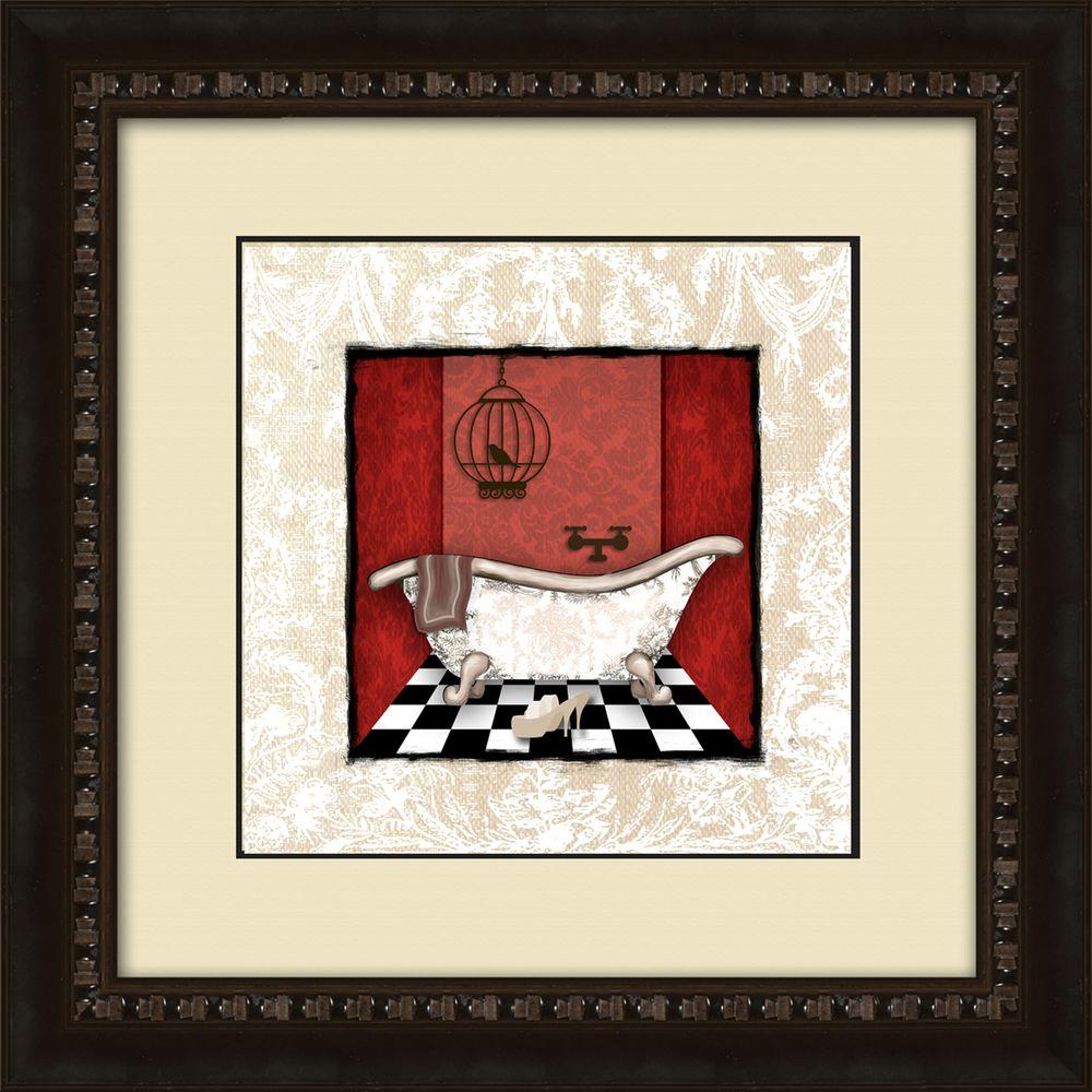 Ptm Images 17 1 2 In X 17 1 2 In Damask Bath B Framed Wall Art Black Painting Frames Framed Wall Art Bath Art