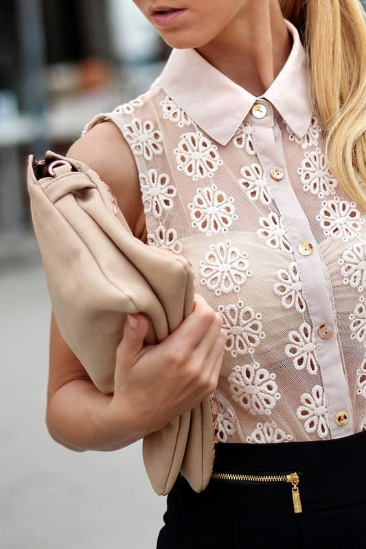 sheer eyelet blouse and bandeau