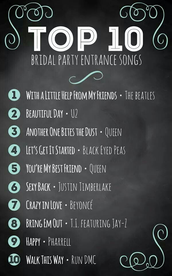 Music ideas for wedding party entrance | wedding planning ideas ...