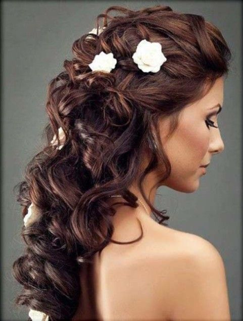 Bridal hairstyle for medium long hair : Wedding Hairstyles: Pretty Half up down Small flowers and