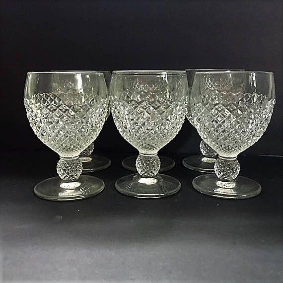 Vintage Diamond Cut Goblets Set Six of Heavy Pressed Glassware