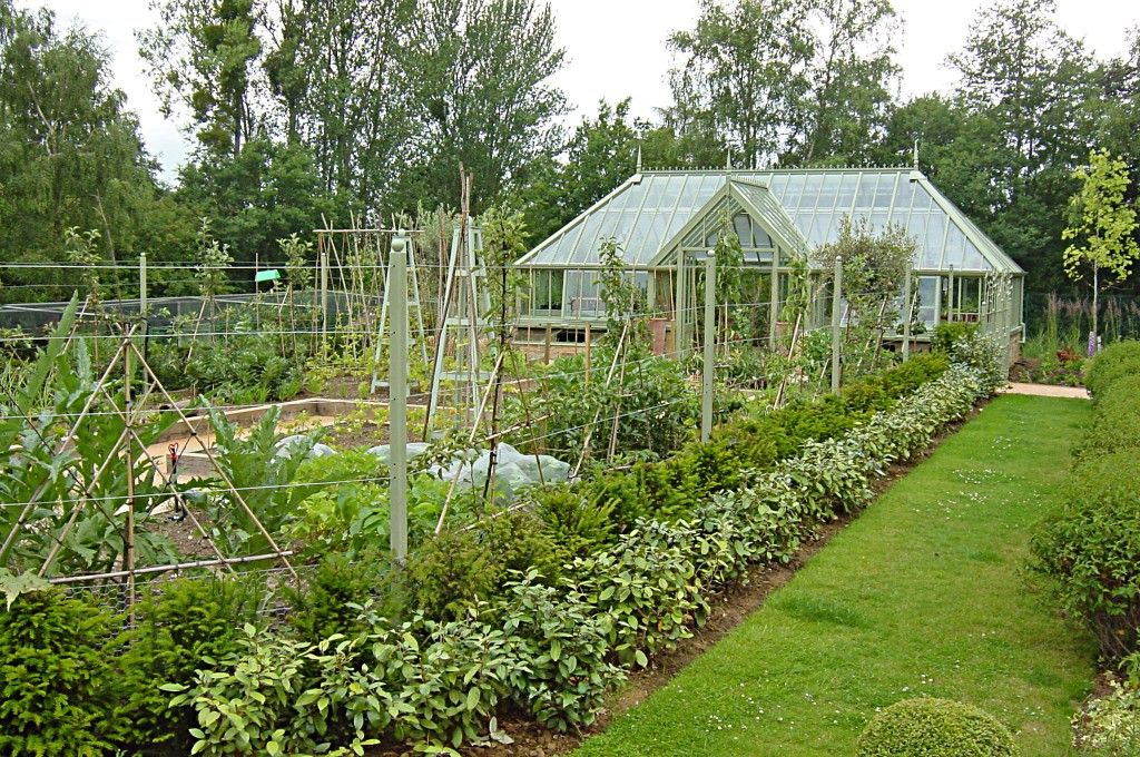 Greenhouse In The Vegetable Garden And Large With Raised Oak