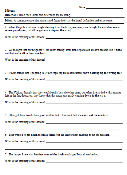 Idioms Worksheets For 5th Grade