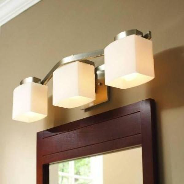 Hampton bay 3 light brushed nickel bath light 25090 the home depot