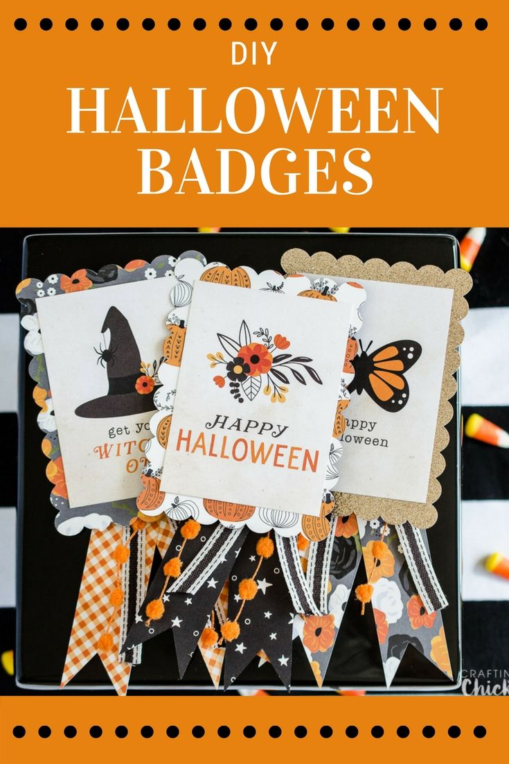 DIY Halloween Badges | These cute Halloween badges are the perfect way to still partake in all those fun Halloween activities without getting dressed up. These would be fun for work parties, volunteering at your children's school or any other time there i
