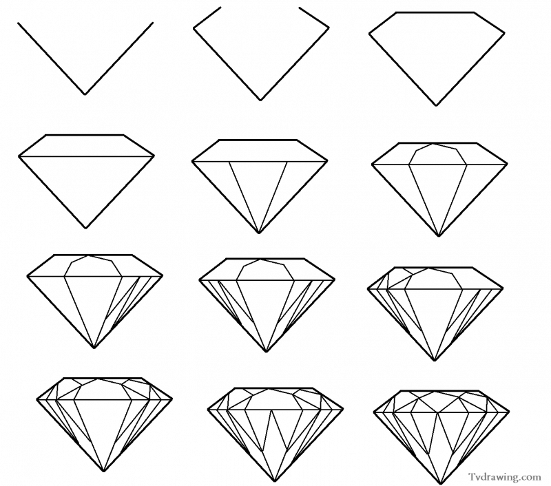 Drawing Using Lines And Shapes : How to draw a simple diamond gemstone pattern easy free