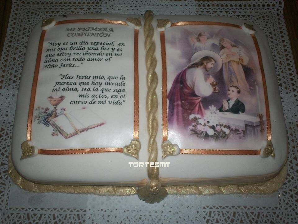 tortas de comunion en forma de biblia