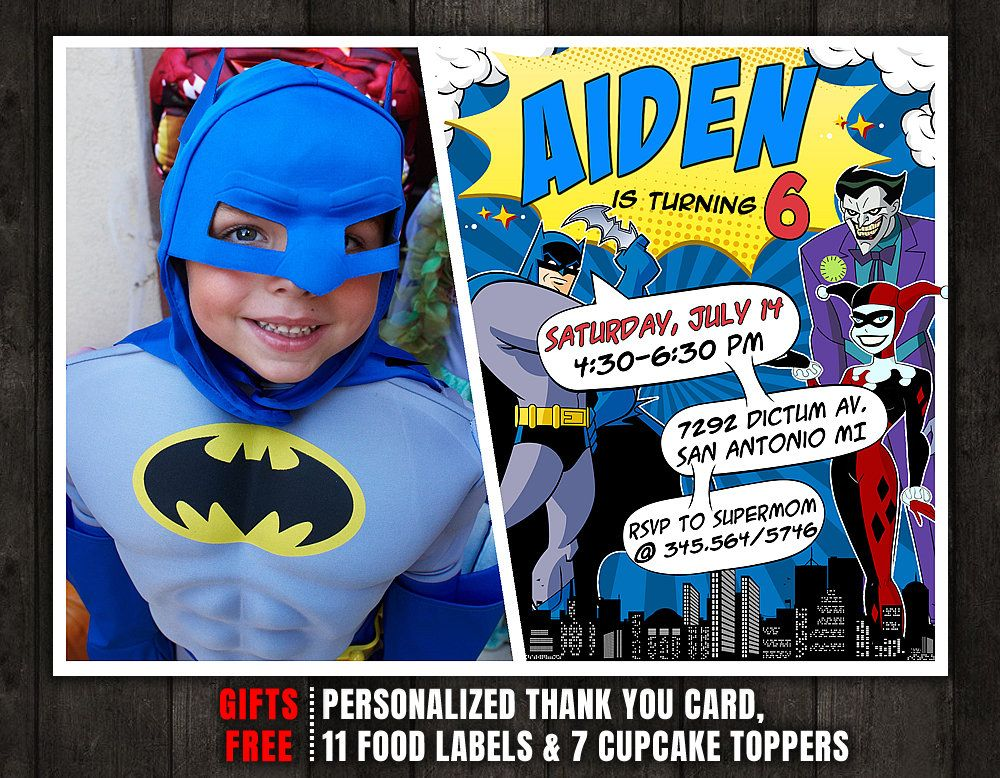 Batman Invitation Birthday With Photo Party Joker