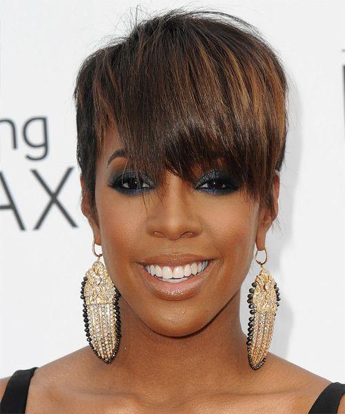 Kelly Rowland Short Straight Brunette Hairstyle With Layered Bangs Straight Brunette Hair Short Hair Styles Straight Formal Hairstyles