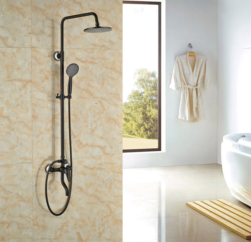 99.71$  Watch now - http://ali8ad.worldwells.pw/go.php?t=32582903707 - Rainfall Shower Oil Rubbed Broze Bath Tub Shower Units Single Lever Exposed