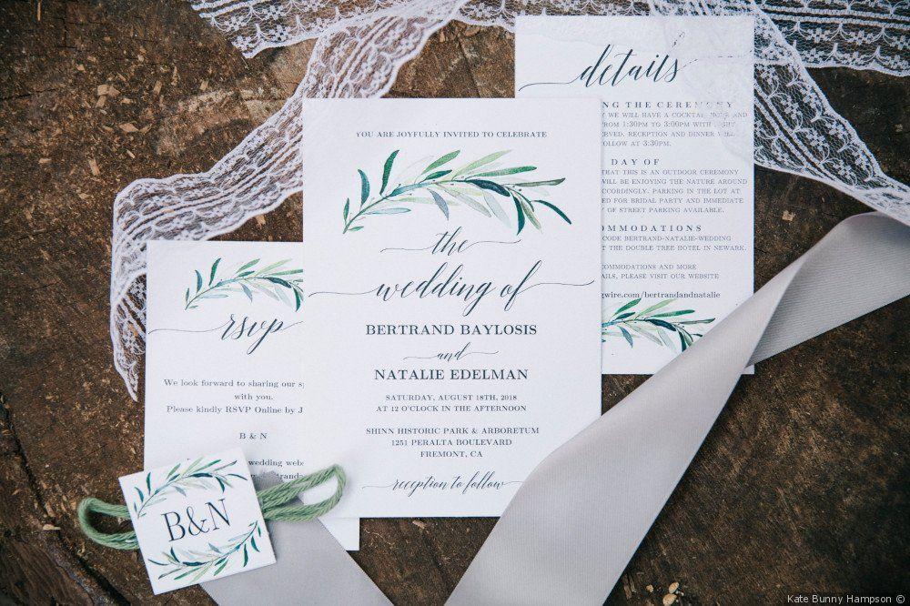 White Wedding Invitations Greenery Detail Invitation Ideas Kate Bunny Hampson