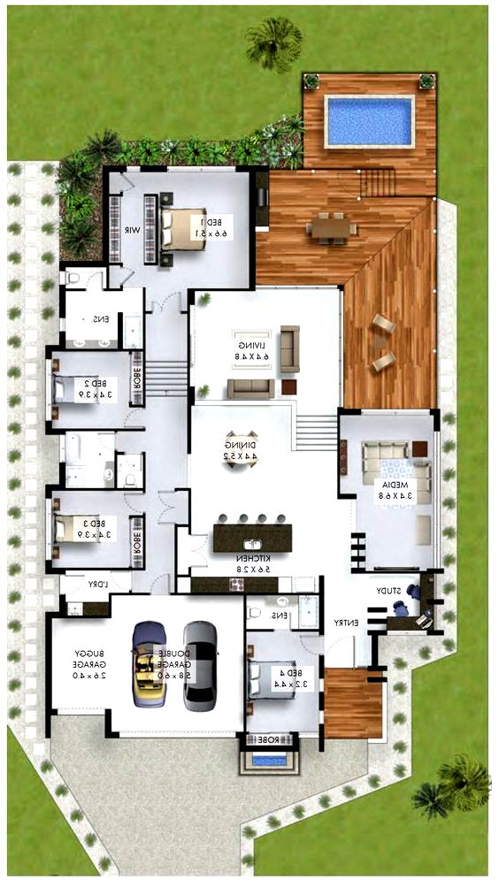 4 Zimmer Haus Mit Studienecke Und Garage Fur 3 Autos 4zimmerhaus Autos Fur Garage Maison Mit Minecraft House Plans Garage House Plans 4 Bedroom House