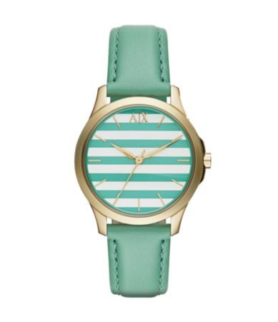 AX Armani Exchange Ladies´ Green Strap Striped Dial 3-Hand Watch