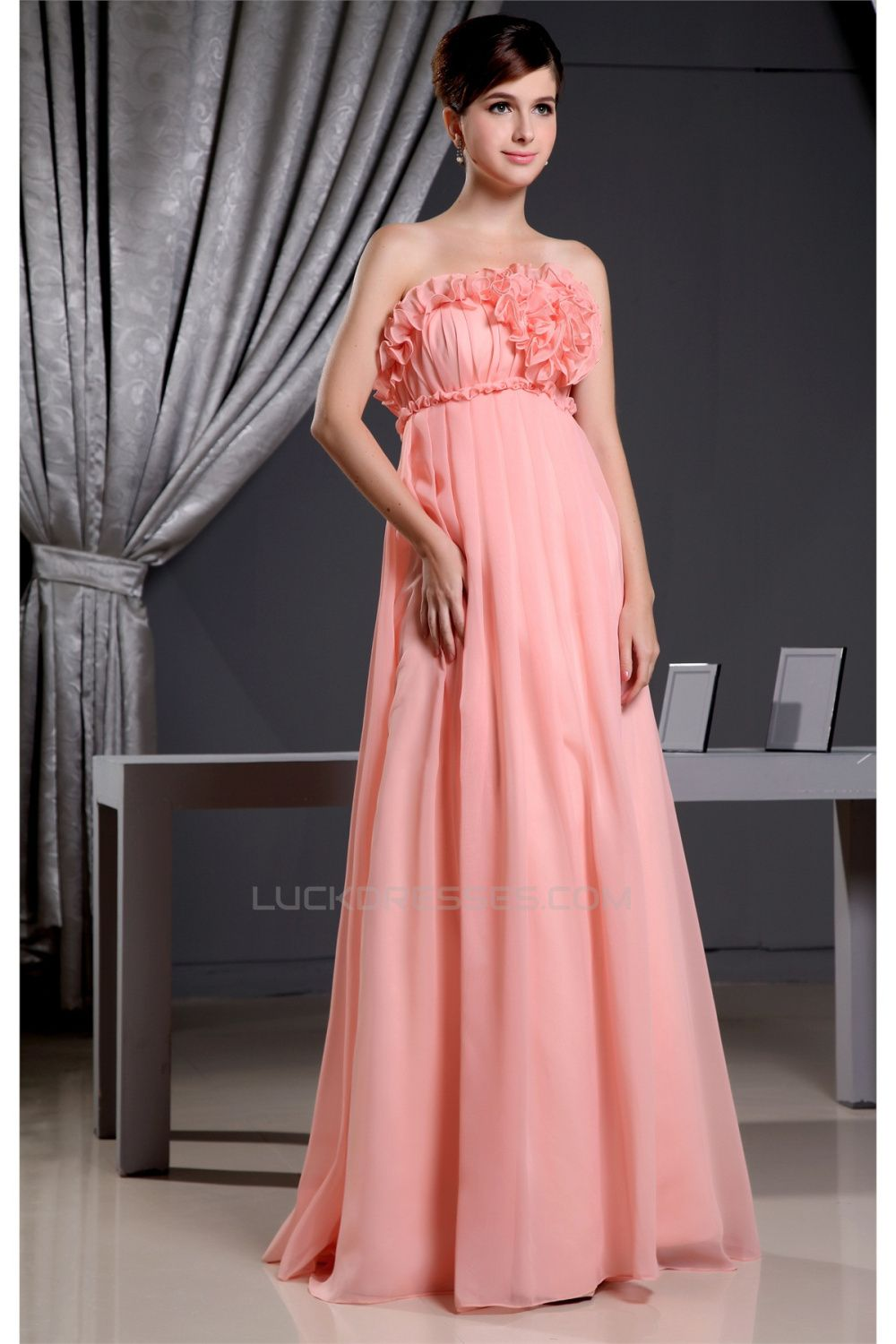 Great Strapless Empire Floor-Length Long Maternity Bridesmaid ...
