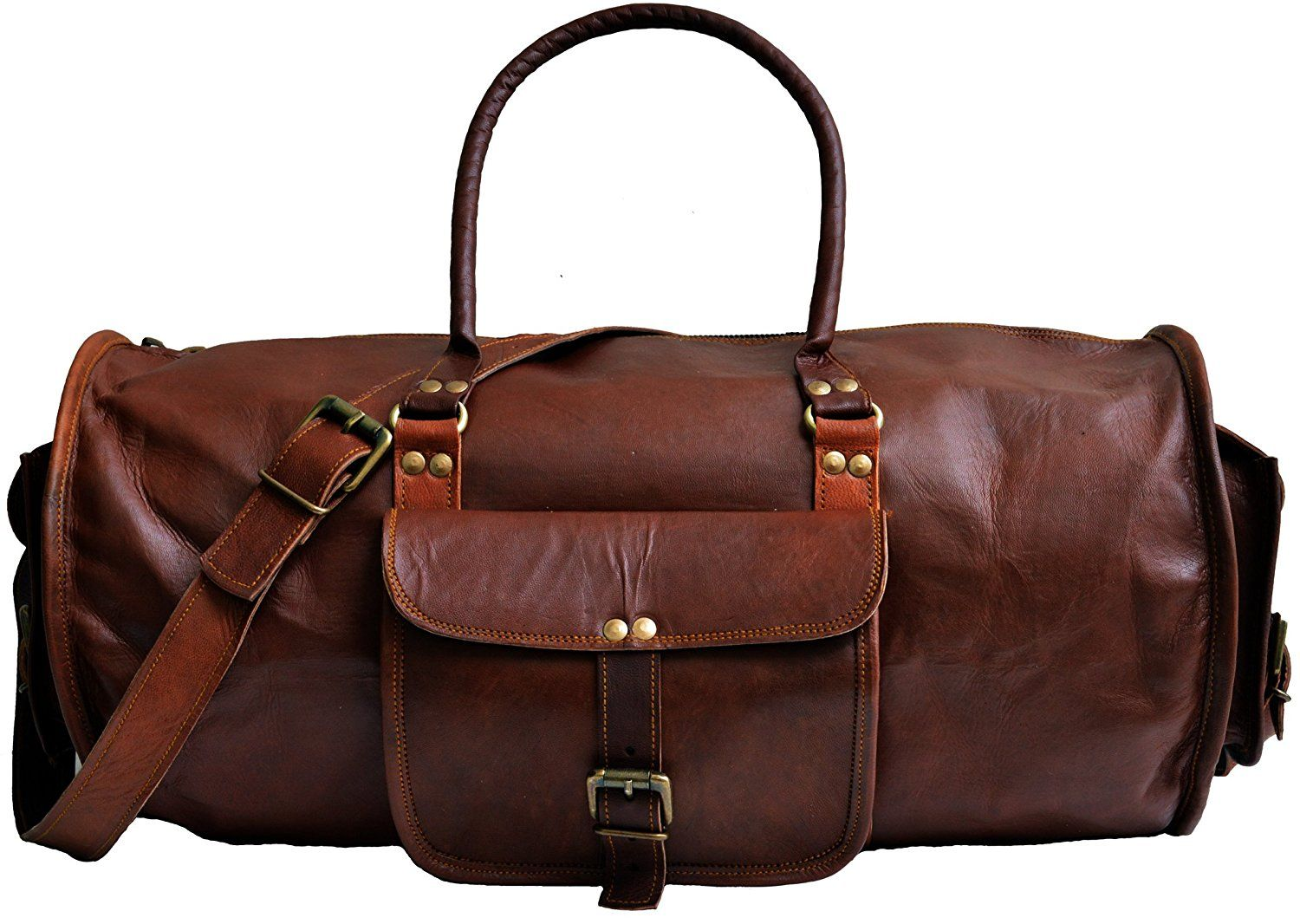b11591867c78 jaald 20' Genuine Leather Men's Duffel bag Gym Sports Travel Weekend ...