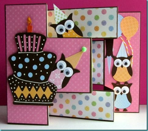 Owl Tri shutter birthday card - try this with cutouts from Stampin' Up!'s Fox & Friends stamp set?