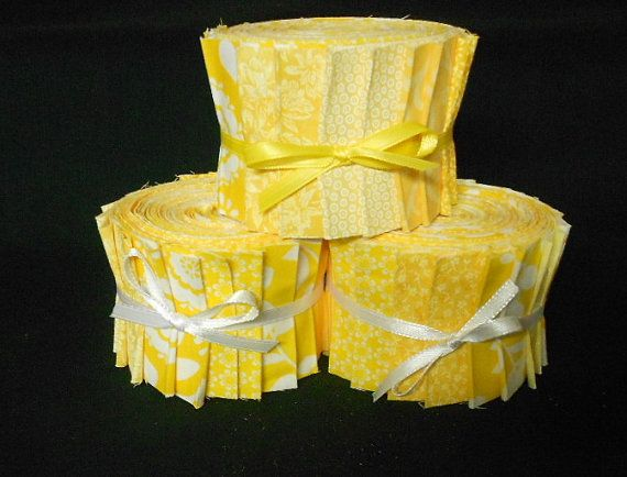 Summer Yellow Jelly Roll Fabric Strips  2 1/2 inch by SEWFUNQUILTS, $17.75