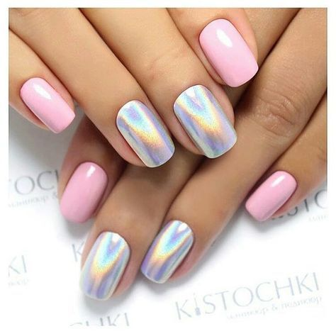 Pink And Chromerainbow Nails Simple But Interesting I Love It I