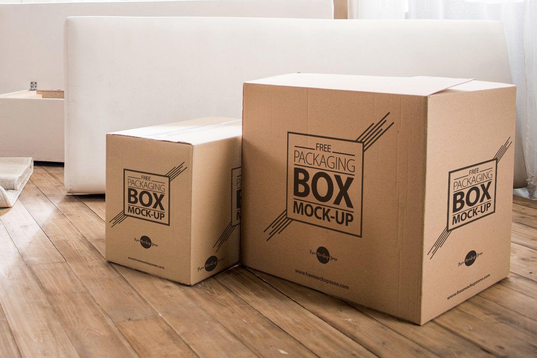 Download Packaging Box On Wooden Floor Free Psd Mockup Free Mockup Box Packaging Free Boxes Flooring