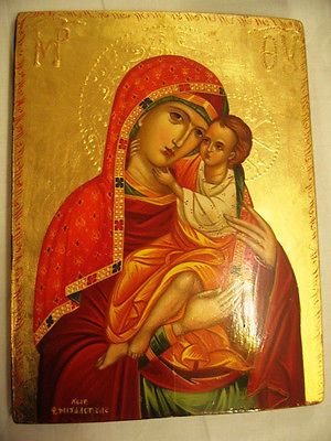 Panagia- Mother of God Handpainted Greek Christian Orthodox Byzantine icon