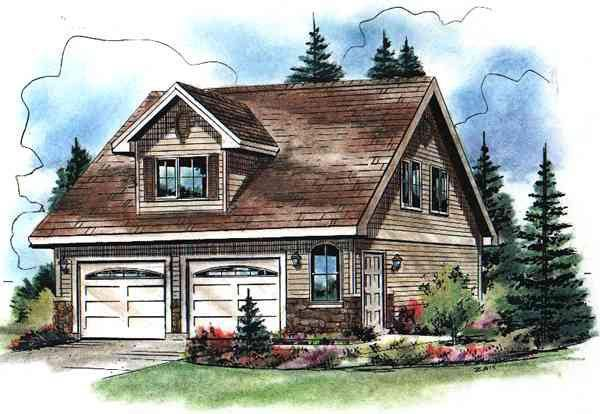 Cape Cod Style 2 Car Garage Apartment Plan Number with 2 Bed 1 Bath