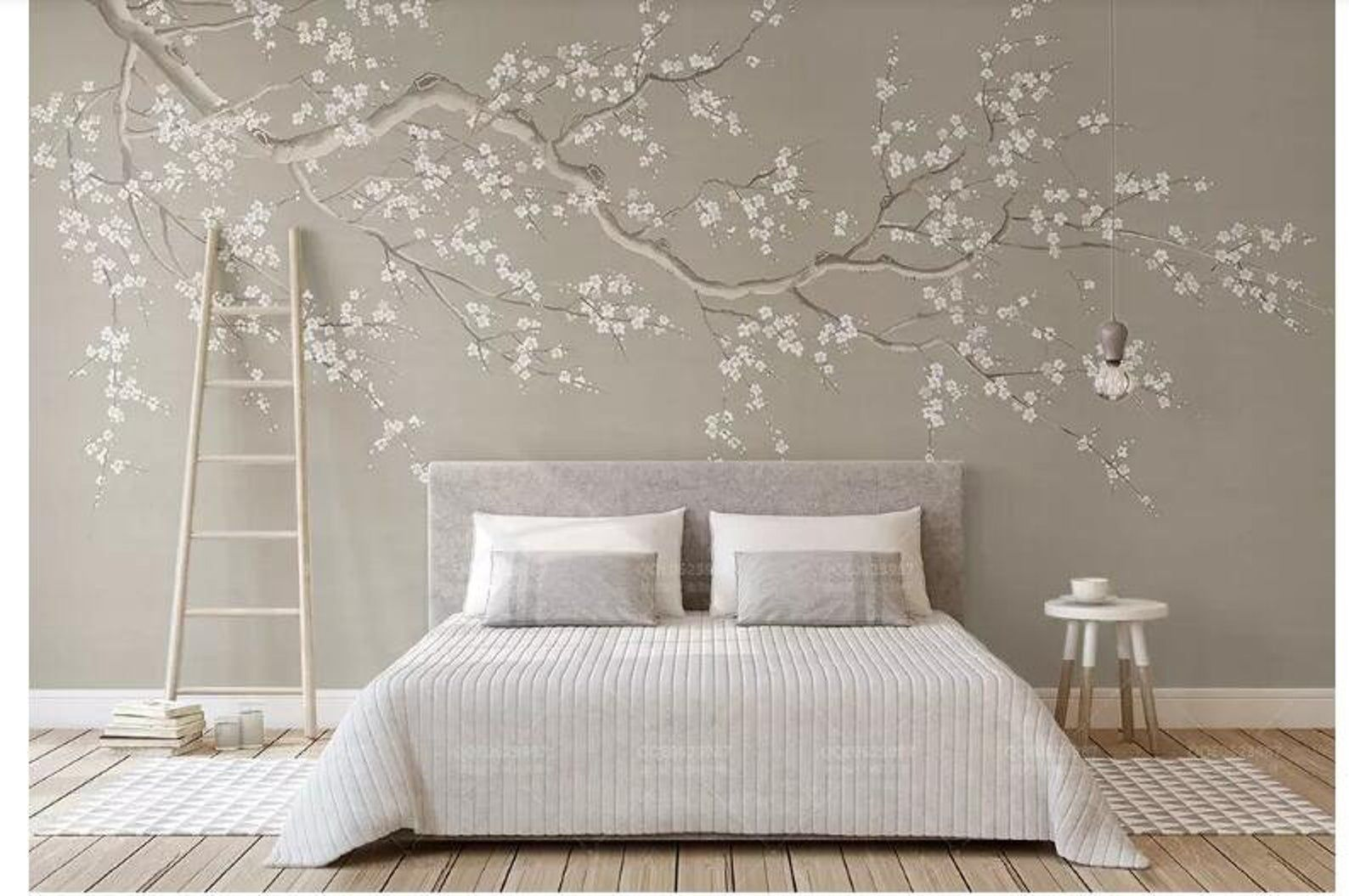 One Large Crooked Cherry Branch Wallpaper Wall Mural Abstract Cherry Blossom Flowers And Birds Chinoiserie Wall Mural Wall Decor Teenager Schlafzimmer Dekorieren Schlafzimmer Dekorieren Tapeten Wandbilder
