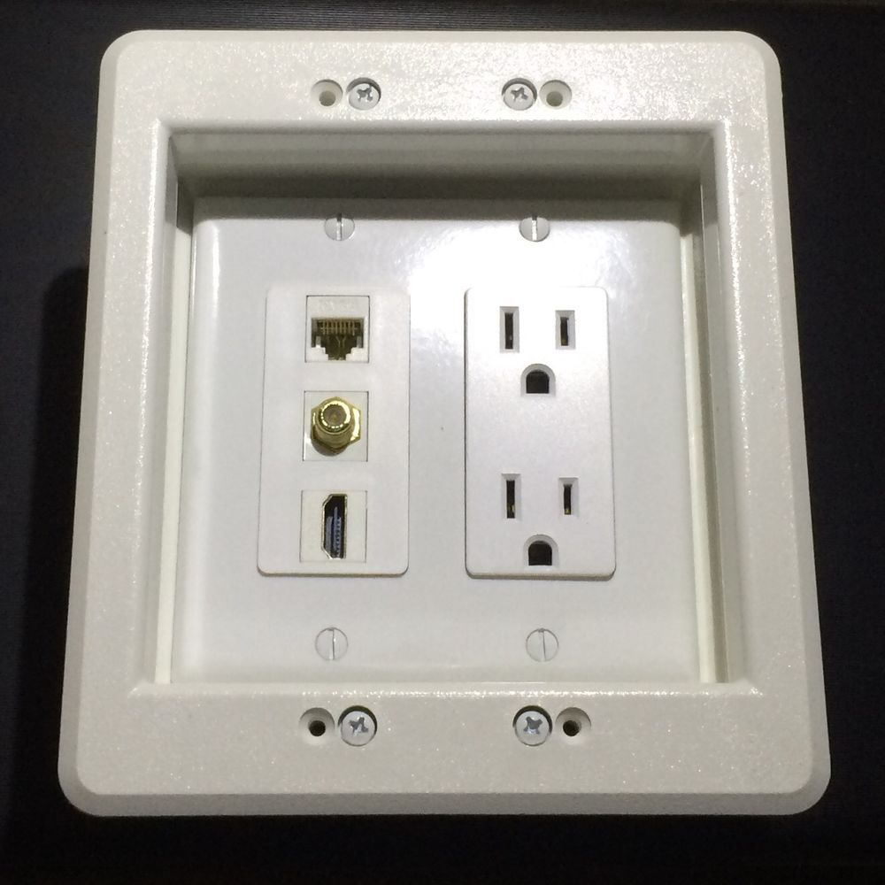 Hdtv Recessed Wall Plate Box 2 Gang 15a Power 1x Hdmi 1x Coax 1x Cat5 Cat6 Plates On Wall Recess Wall