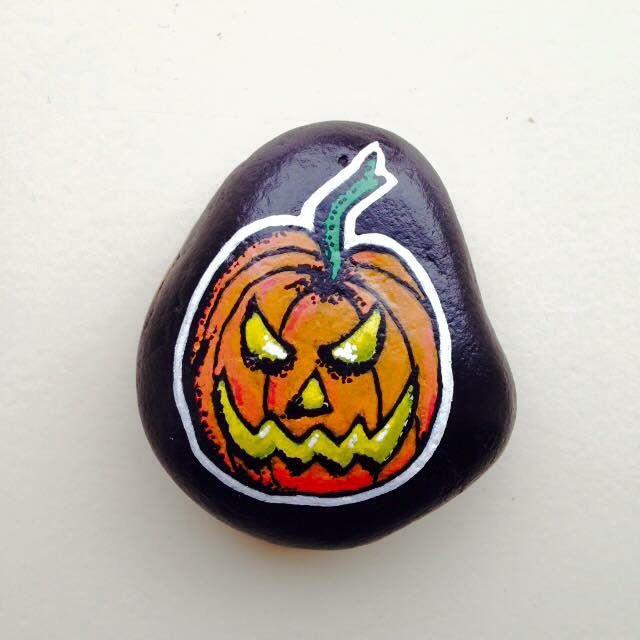 Pumpkin. Painted on rock.  (By Kim de Bruijn)