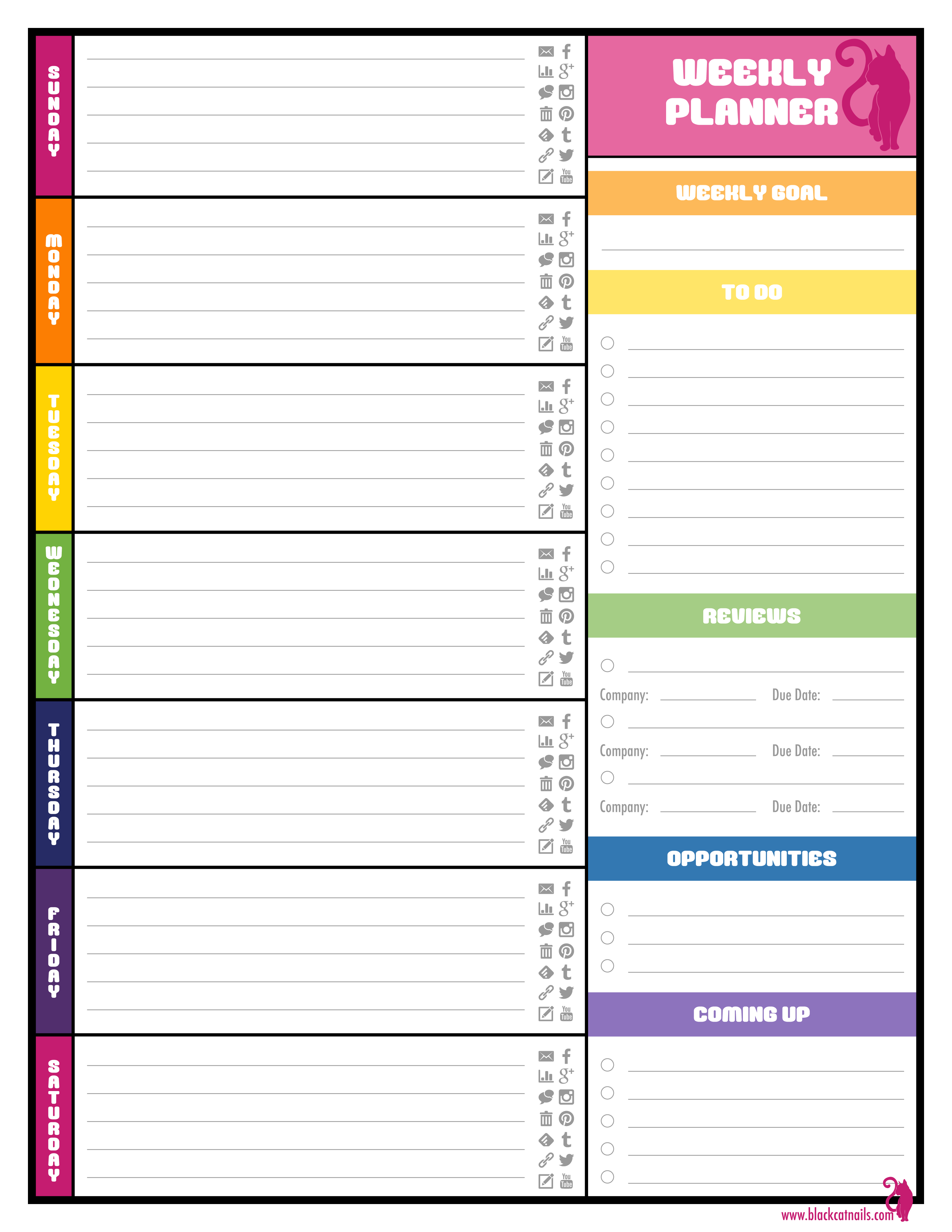 Colorful Weekly Blogging Planner Image