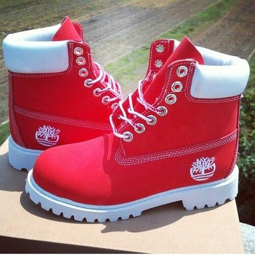 2264eb3772a0 Red   White Custom Timberlands