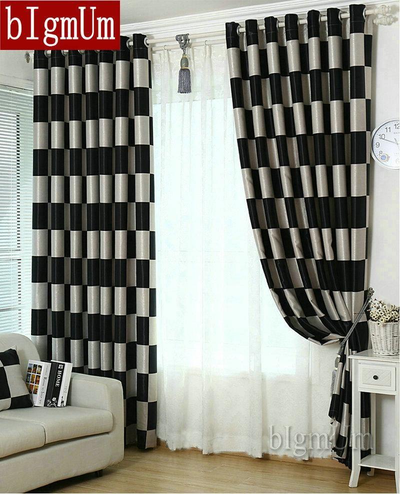 European Brief Pattern Plaid Blackout/Sheer Window Curtains For ...