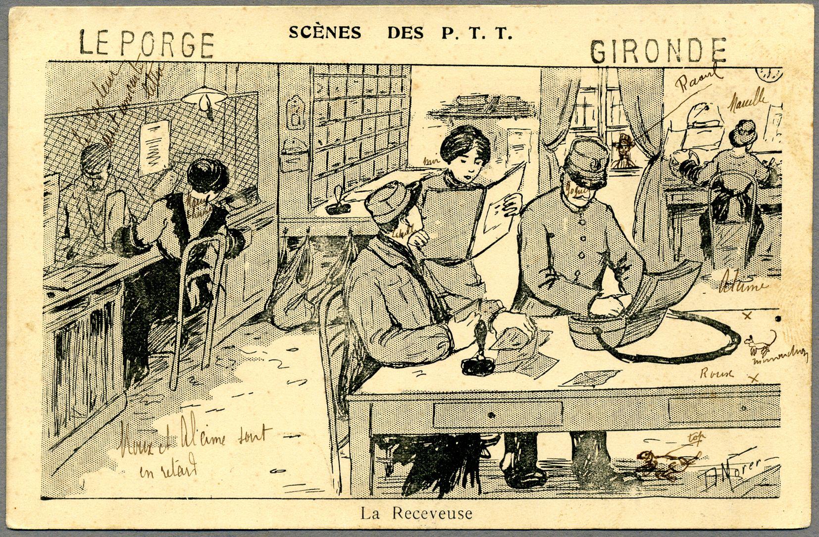 La receveuse Carte postale illustrée Morer, D. vers 1915 © L'Adresse Musée de La Poste / La ...
