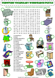 Awesome In My House Furniture Vocabulary Wordsearch Puzzle Worksheet Icon
