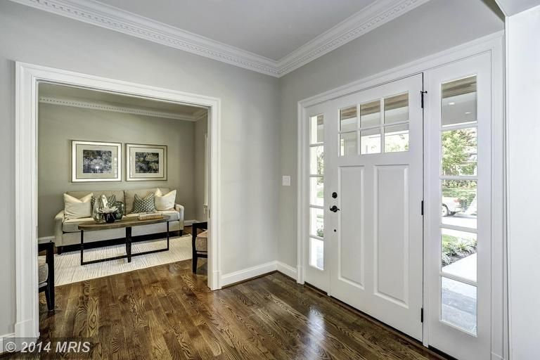 Foyer Window Molding : Traditional entryway with crown molding hardwood floors