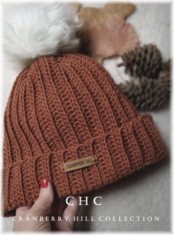 Ribbed Beanie with faux fur pom pom. Rusty fall color. Cozy warm. Great for  now thru winter. Ready t 716574160e88