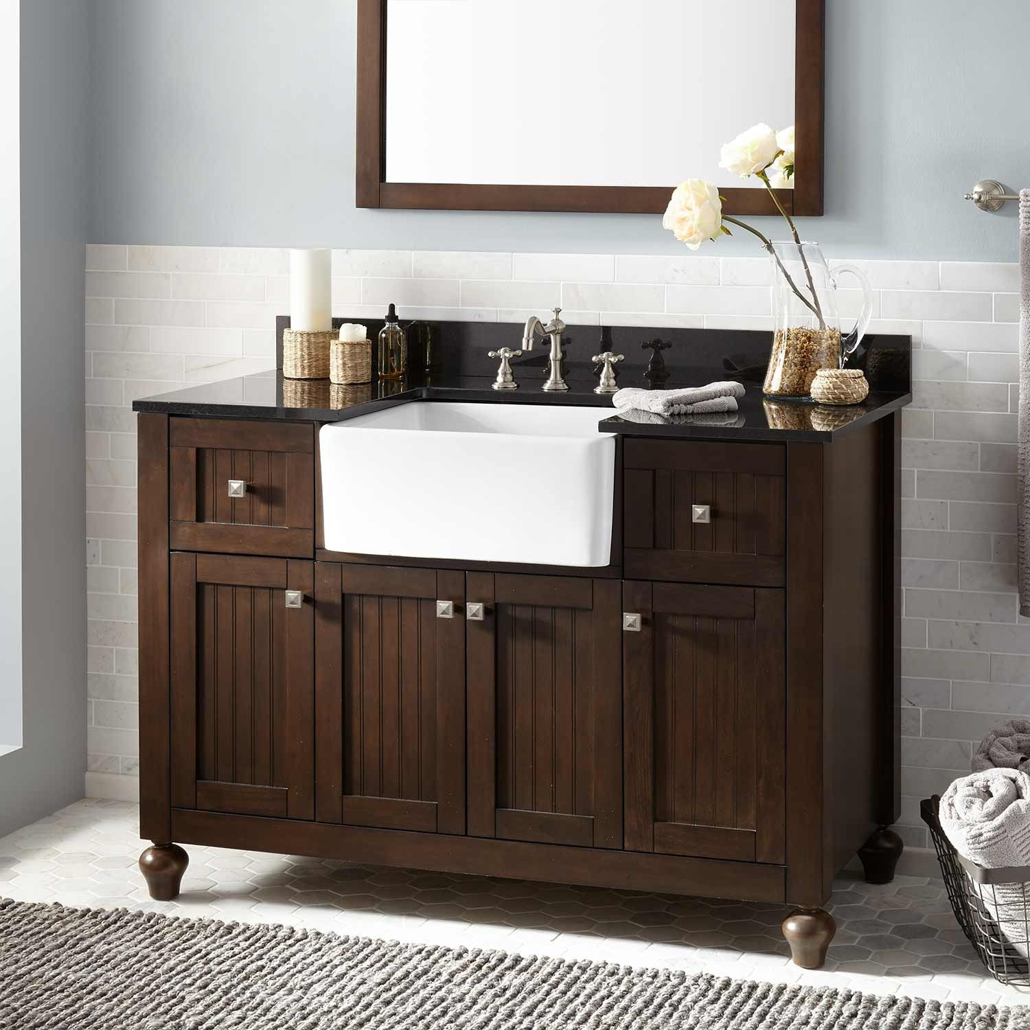 "48"" Nellie Farmhouse Sink Vanity Antique Coffee"