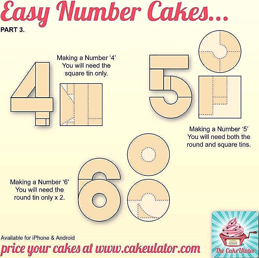 How To Make Number 4 5 And 6 Shaped Cakes 6th Birthday Cakes Number Cakes Number 5 Cake