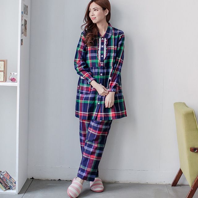 e528095abd10d Maternity Cotton nursing pajamas set Long Sleeve plaid sleep wear for  Pregnant Women on AliExpress