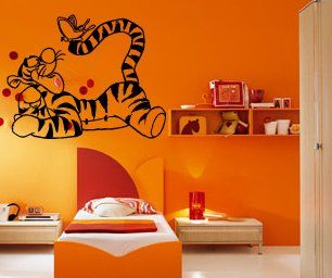 Cartoon Tigger With Erfly Kids Room Nursery Animal Design Wall Mural Vinyl Decal Sticker M144