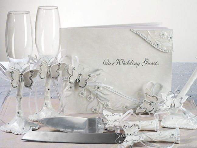 elegant butterfly wedding guest book flutes and server accessory set style butterfly