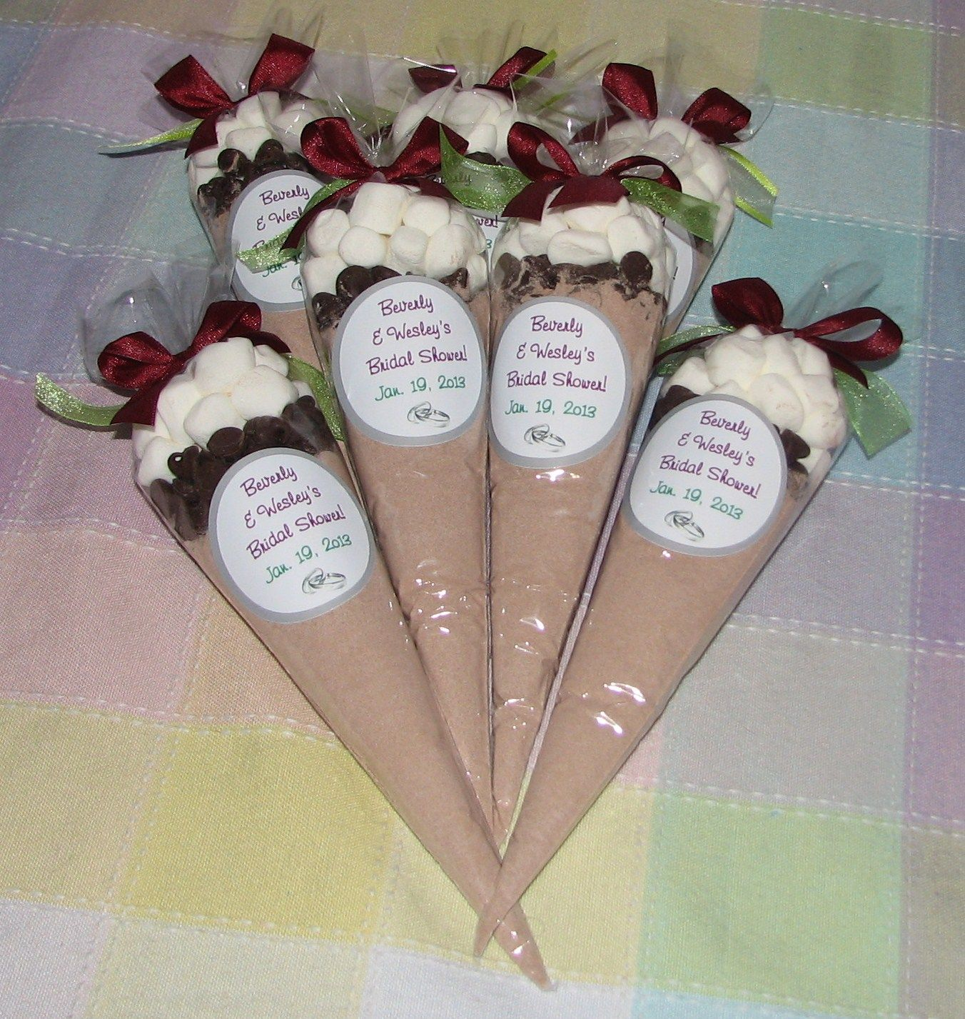 Bridal shower party supplies - Bridal Shower Favors Ideas Personalized Bridal Shower Hot Cocoa Cone Favors