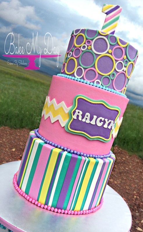 Modern first birthday cake Iced in buttercream with fondant chevron