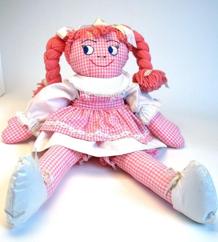 Vintage Raggedy Ann Like Hand Made Stocking Doll or Rag Doll Pink Gingham On | eBay