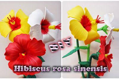 Hibiscus rosa sinensis Hecha de Goma eva http://creartemanualidades.forumr.net/t12971-hibiscus-rosa-sinensis-hecha-de-goma-eva