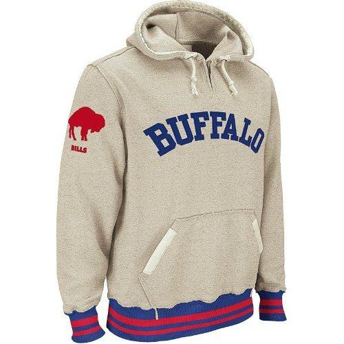 Wholesale Buffalo Bills Reebok Vintage Ash 14 Zip Throwback Hooded Sweatshirt  hot sale