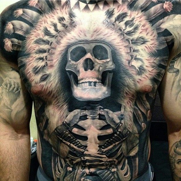 55 Incredible Indian Tattoo Designs Meanings: 35 Majestic Indian Chiefs Skull Tattoos
