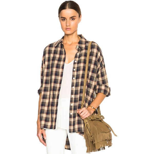 The Great Big Flannel Top (270 CAD) ❤ liked on Polyvore featuring tops, button ups, button front tops, flannel tops and button down top