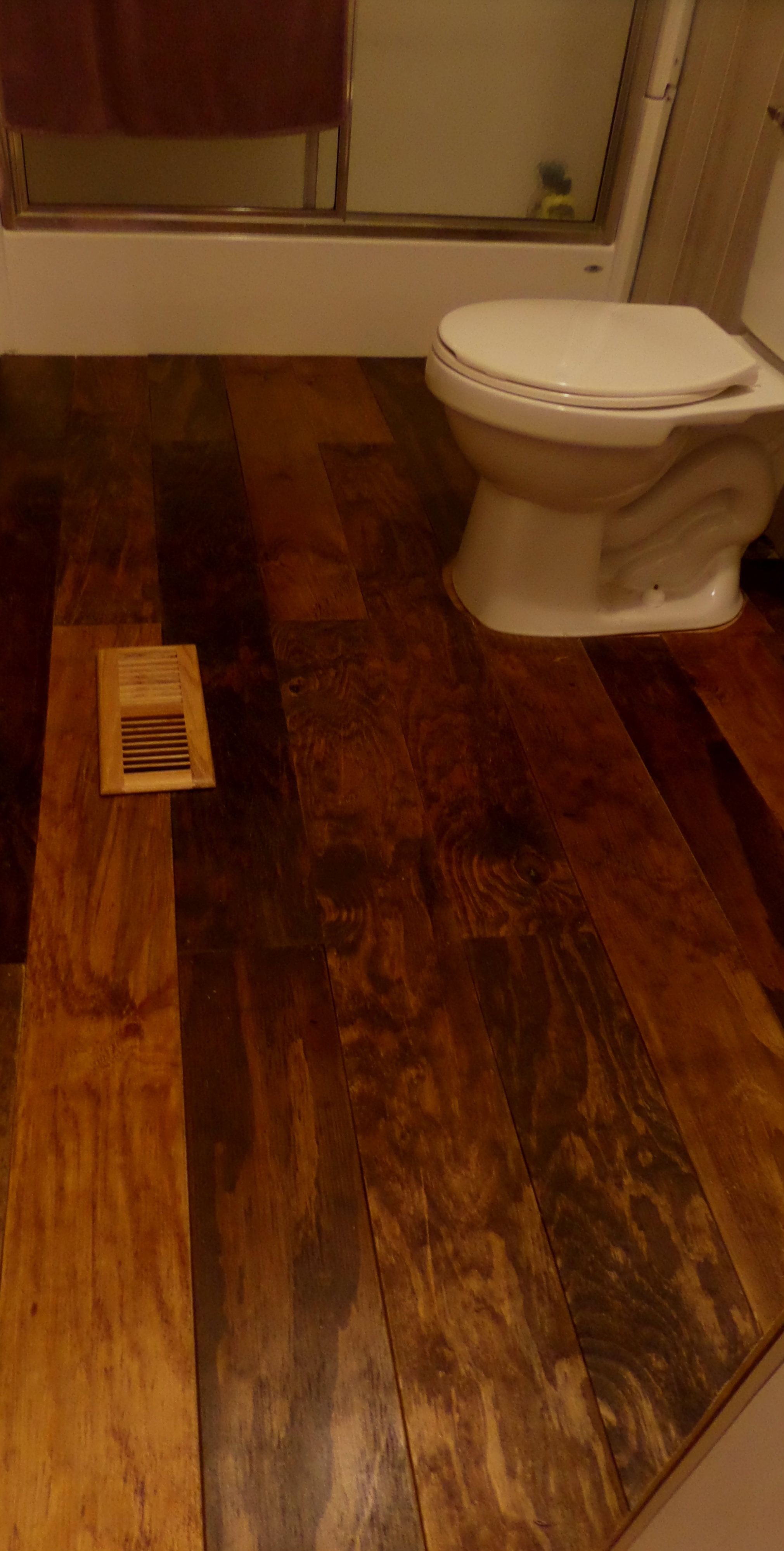 The Diy Wood Plank Flooring That Hubby And I Put In The Bathroom We Will Be Doing This In Most Of The House We Ripped 1 4 Plywood In 6 Strips S Diy Flooring
