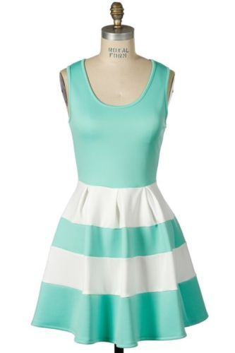 6c5a97352f86 Mint Green And White Scuba ColorBlock Sleeveless Flare MiniDress Reeann116  Large