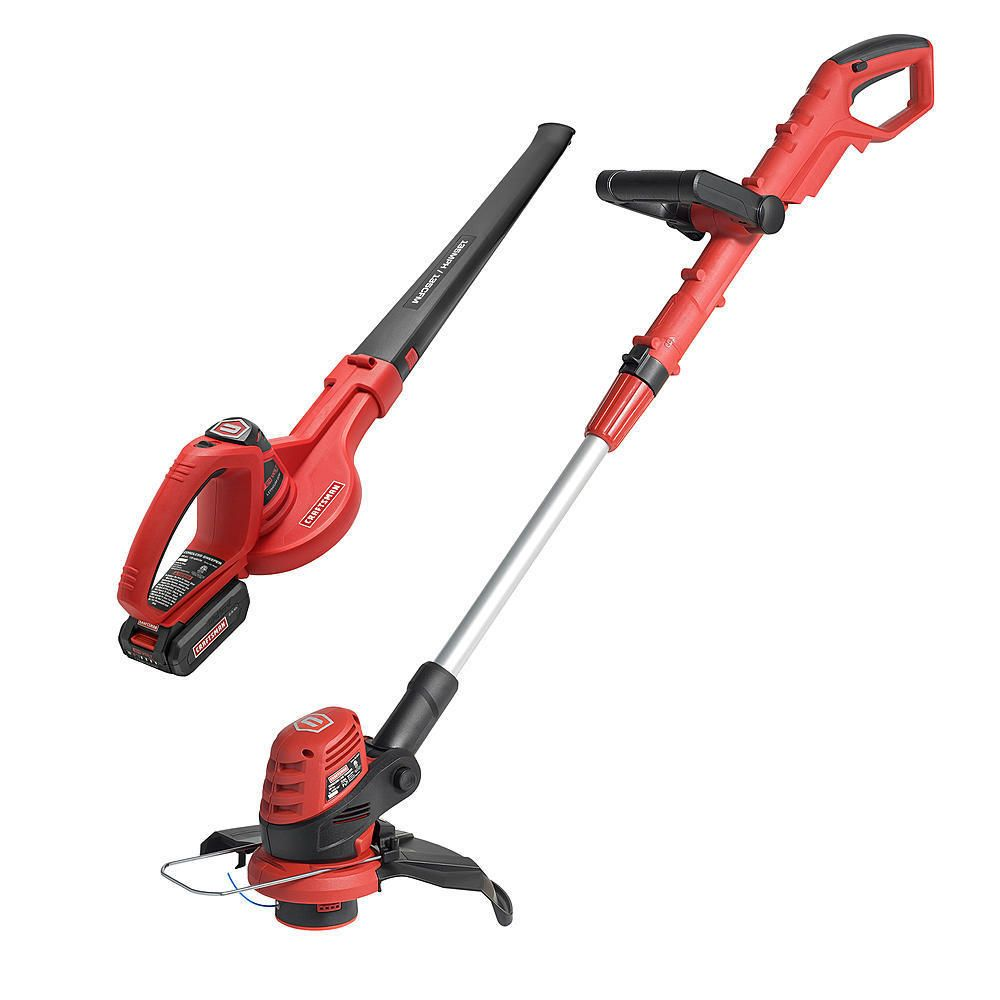 Craftsman 24 Volt Max Lithium Cordless 10 Line Trimmer And Sweeper Blower 24v Combo Kit Trimmers Blowers